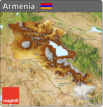 Free Physical Map Of Armenia Satellite Outside - Armenia physical map