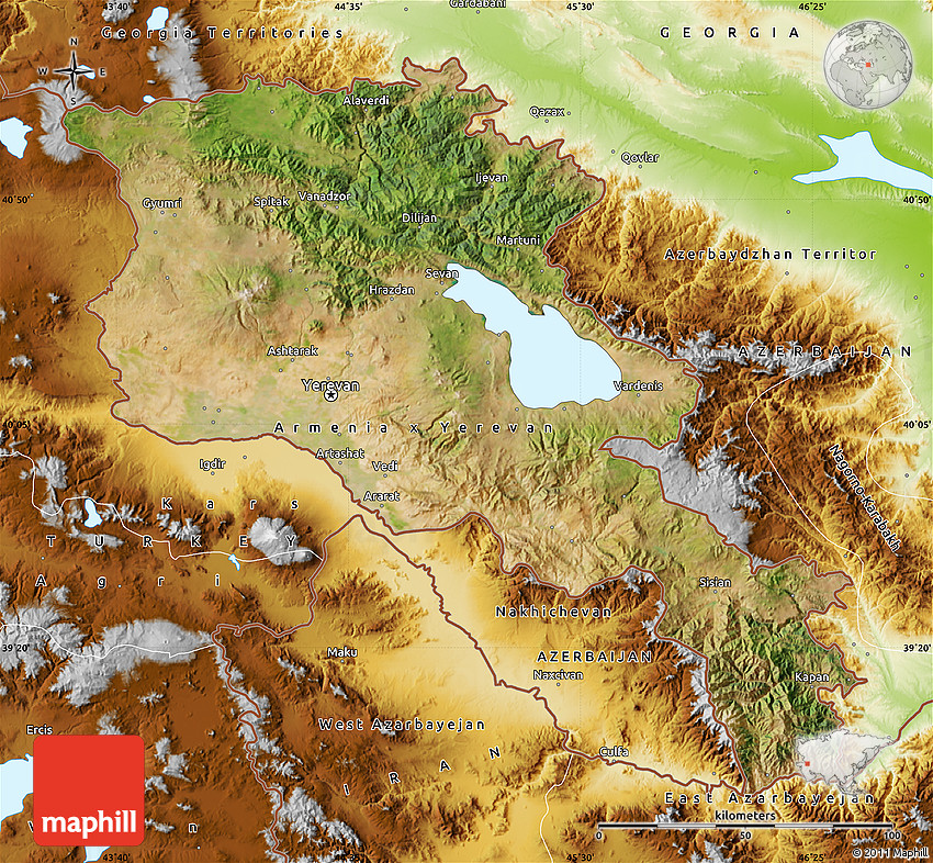 Satellite Map Of Armenia Physical Outside - Armenia physical map