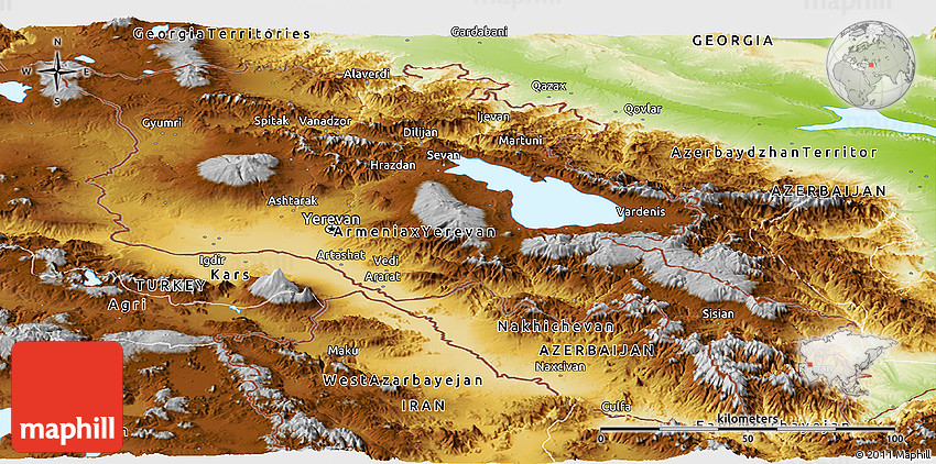 Physical Panoramic Map of Armenia