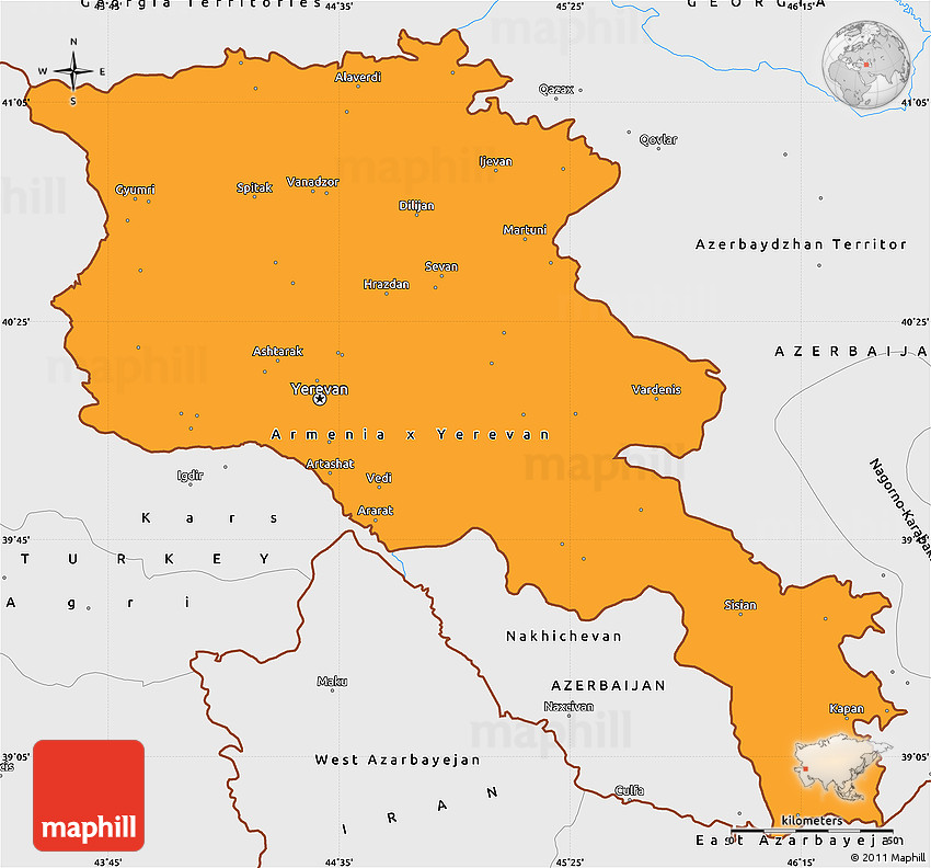 Political Simple Map of Armenia single color outside borders and