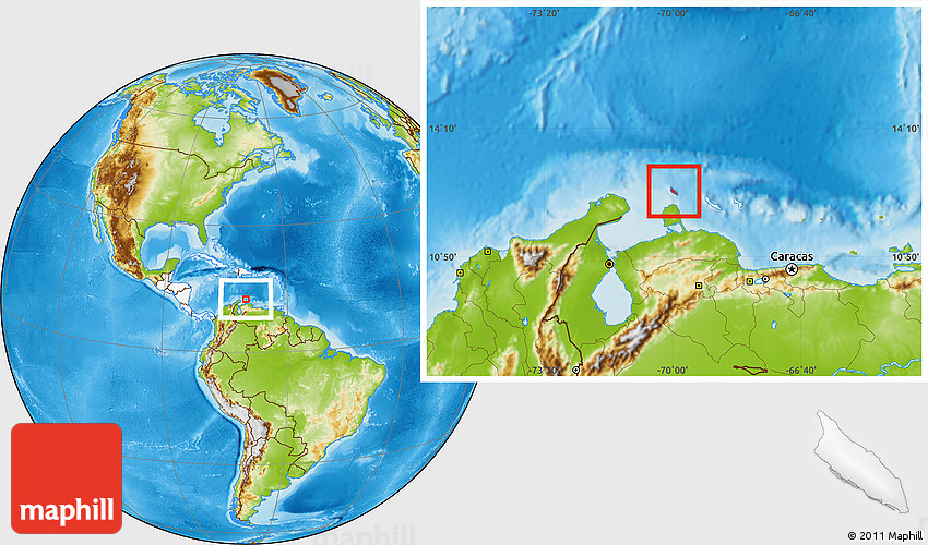 Physical Location Map of Aruba highlighted continent