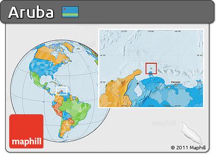 Free Physical Location Map Of Aruba Political Outside - Aruba physical map