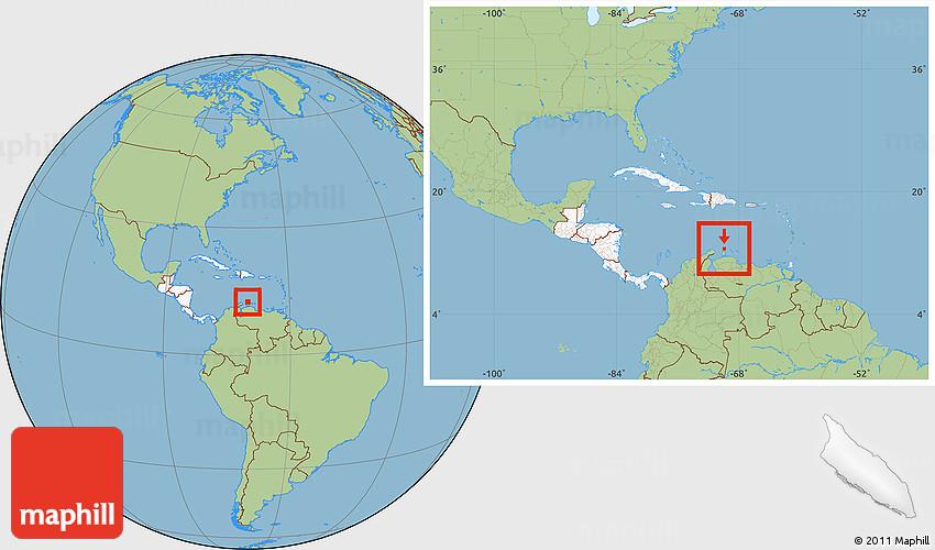 Savanna Style Location Map of Aruba, highlighted continent ...