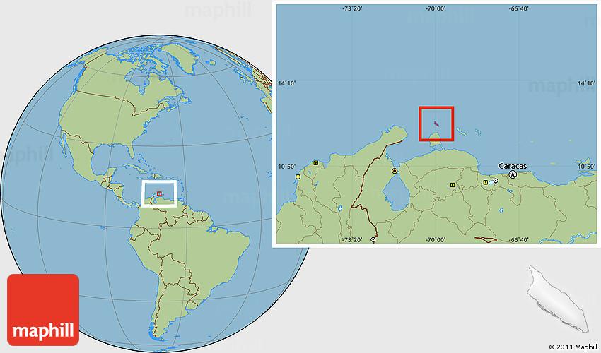 Savanna Style Location Map of Aruba