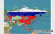 Flag 3D Map of Asia, satellite outside