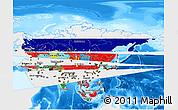 Flag 3D Map of Asia, single color outside, bathymetry sea