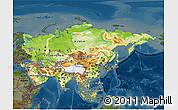 Physical 3D Map of Asia, darken