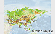 Physical 3D Map of Asia, lighten