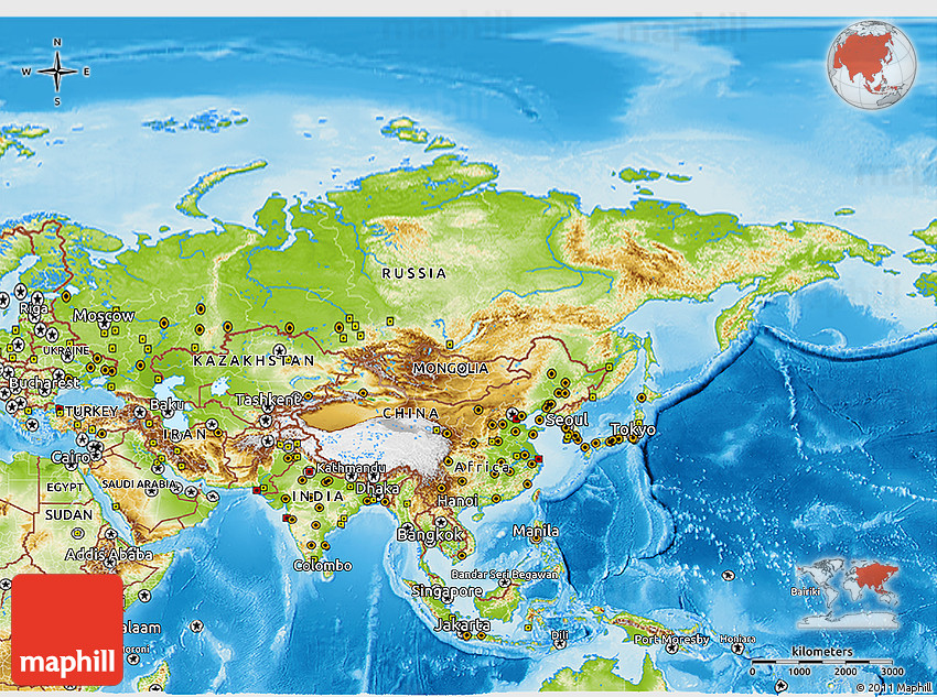 Physical 3D Map of Asia on