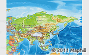 Physical 3D Map of Asia, political outside, shaded relief sea