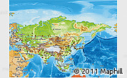 Physical 3D Map of Asia, political shades outside, shaded relief sea