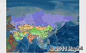 Political 3D Map of Asia, darken