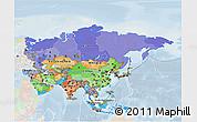 Political 3D Map of Asia, lighten