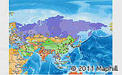 Political 3D Map of Asia, political shades outside