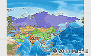 Political 3D Map of Asia, satellite outside, bathymetry sea