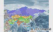 Political 3D Map of Asia, semi-desaturated