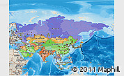 Political 3D Map of Asia, shaded relief outside, bathymetry sea