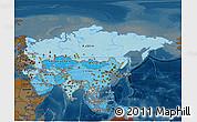 Political Shades 3D Map of Asia, darken