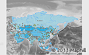 Political Shades 3D Map of Asia, desaturated