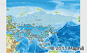 Political Shades 3D Map of Asia, physical outside