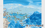 Political Shades 3D Map of Asia, shaded relief outside, bathymetry sea