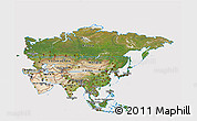 Satellite 3D Map of Asia, cropped outside