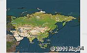 Satellite 3D Map of Asia, darken