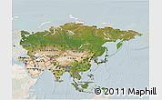 Satellite 3D Map of Asia, lighten