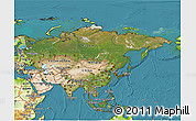 Satellite 3D Map of Asia, physical outside, satellite sea