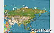 Satellite 3D Map of Asia, political outside, satellite sea