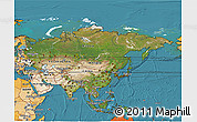 Satellite 3D Map of Asia, political shades outside, satellite sea