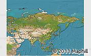 Satellite 3D Map of Asia