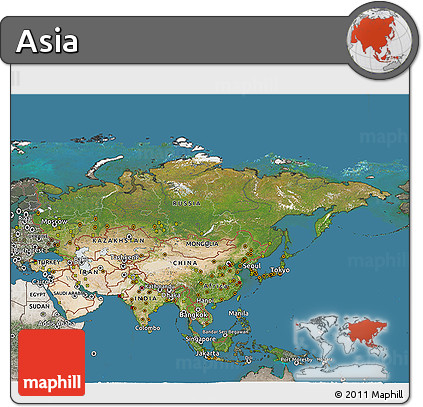 Free Satellite 3D Map of Asia, semi-desaturated, land only
