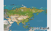 Satellite 3D Map of Asia, semi-desaturated, land only