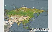 Satellite 3D Map of Asia, semi-desaturated