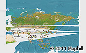 Satellite 3D Map of Asia, single color outside