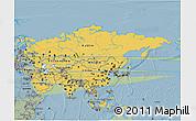 Savanna Style 3D Map of Asia
