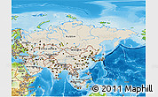 Shaded Relief 3D Map of Asia, physical outside