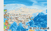 Shaded Relief 3D Map of Asia, political outside, shaded relief sea