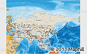 Shaded Relief 3D Map of Asia, political shades outside, shaded relief sea