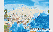 Shaded Relief 3D Map of Asia, satellite outside, shaded relief sea