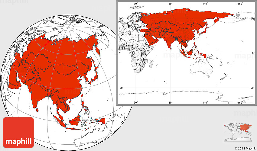 Blank Location Map Of Asia - Blank map of asia