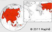 Blank Location Map of Asia, within the entire world