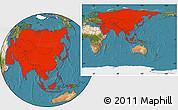 Satellite Location Map of Asia