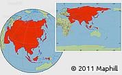 Savanna Style Location Map of Asia