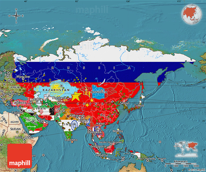 Flag Map Of Asia Satellite Outside - Asia satellite map