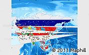 Flag Map of Asia, single color outside, bathymetry sea