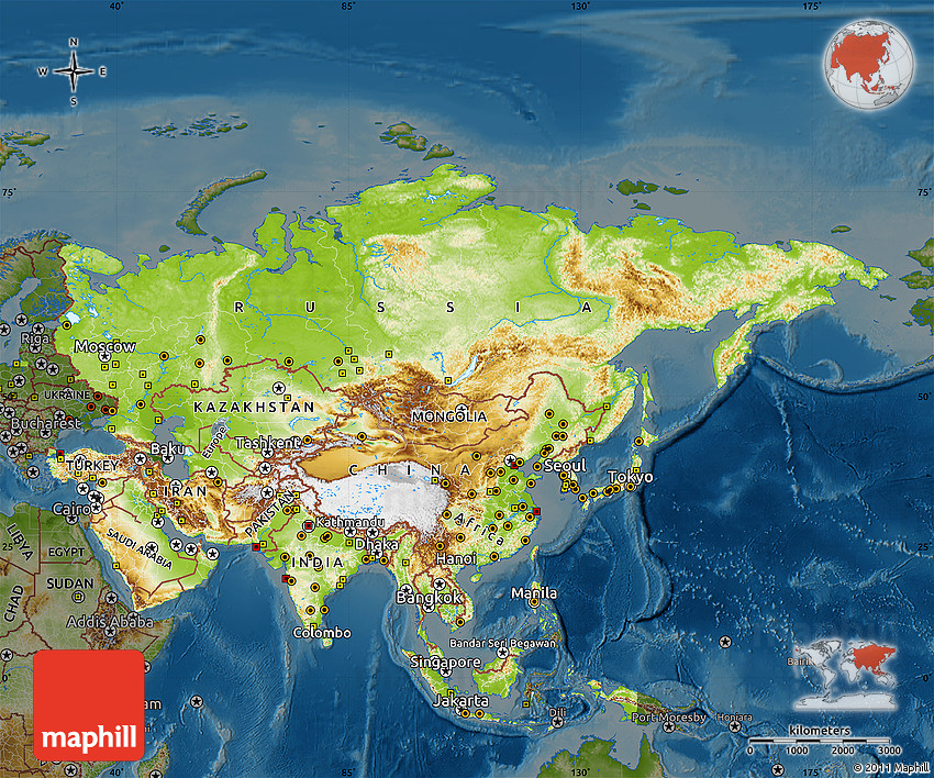 Physical Map Of Asia Darken - Asia physical map