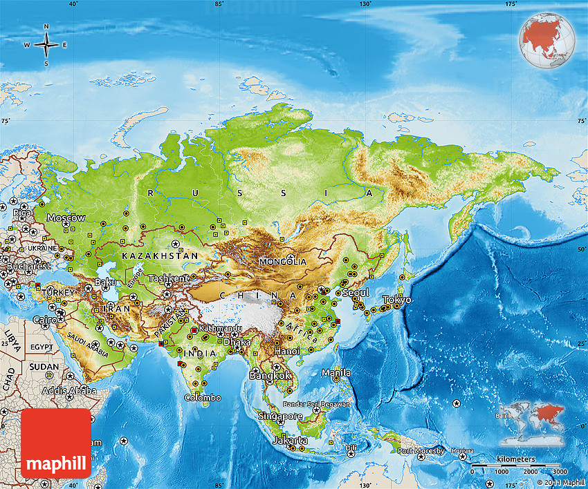 physical map of asia shaded relief outside