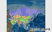 Political Map of Asia, darken